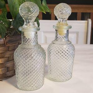 Vintage Clear Hobnail Oil & Vinegar Bottles